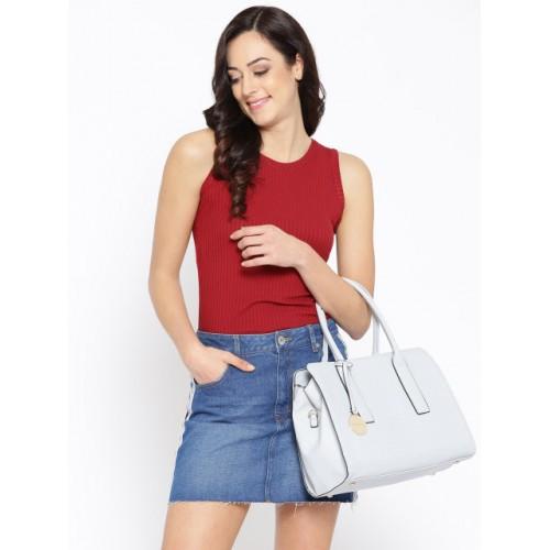 DressBerry Blue Polyurethane Solid Handheld Bag