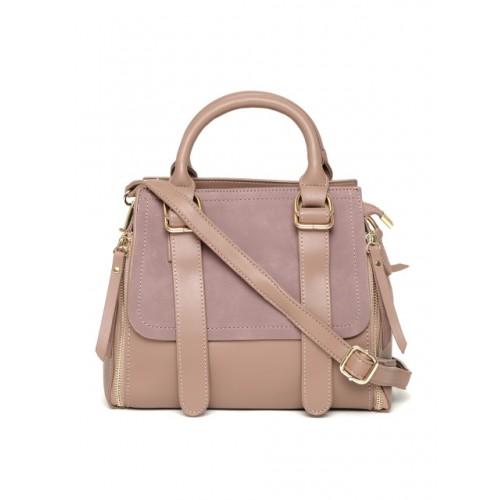DressBerry Mauve Polyurethane Solid Handheld Bag