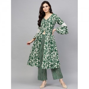 AKS  Green & White Printed Kurta With Palazzos