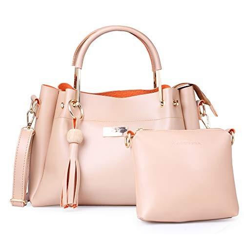 JFC Pink Canvas Handbag with Sling Bag Combo