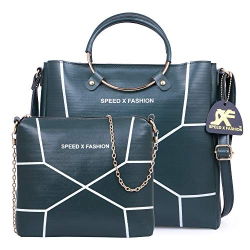 Speed X Fashion Green Leather Handbags And Shoulder Bag Combo