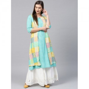 Shree Turquoise Blue & Beige Checked Layered A-Line Kurta with Printed Detail