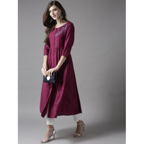 HERE&NOW Purple Rayon Solid A-Line Kurta