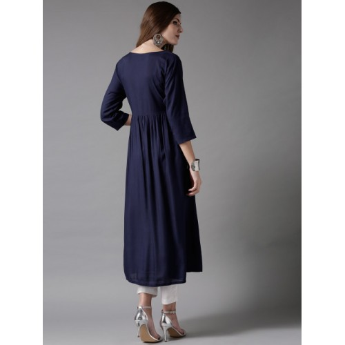 HERE&NOW Navy Blue Viscose Solid A-Line Kurta