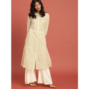 0d3ec716133 Taavi Women Off-White Checked Woven Legacy South Cotton A-line Kurta with  Pockets