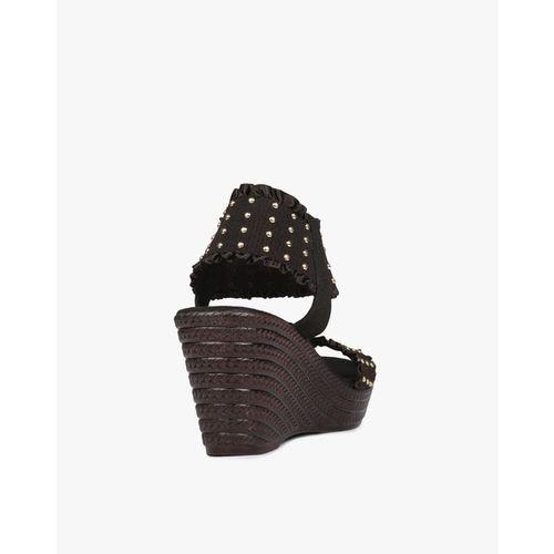Catwalk Women Black Embellished Wedges