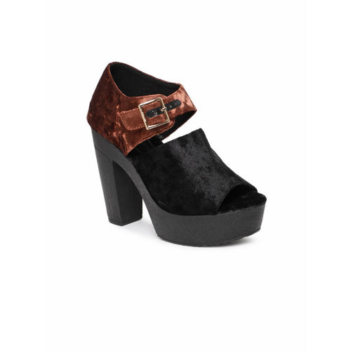 Catwalk Women Black & Brown Colourblocked Peep Toes