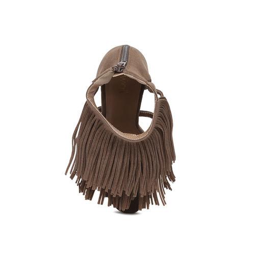 Catwalk Women Brown Tasseled High-Top Open Toe Sandals