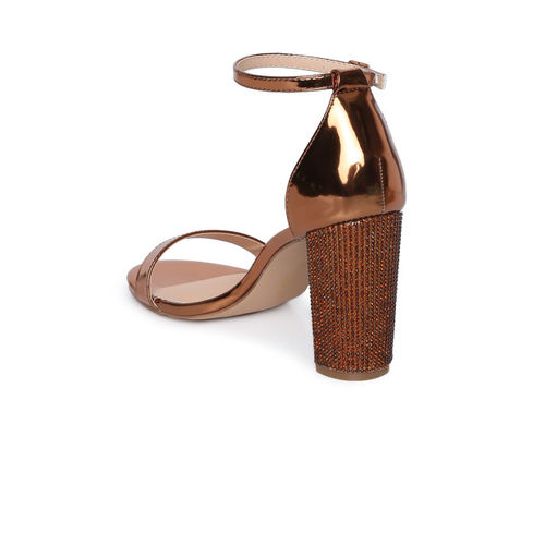 Catwalk Women Bronze-Toned Solid Sandals