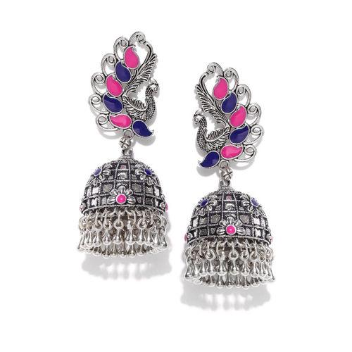 PRITA Oxidised Silver-Plated & Pink Peacock Shaped Jhumkas
