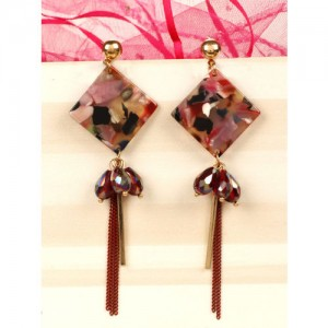 PRITA Multicoloured Gold-Plated Handcrafted Diamond Shaped Drop Earrings