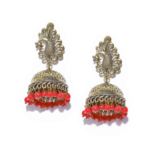 PRITA Antique Gold-Toned & Red Handcrafted Peacock-Shaped Jhumkas