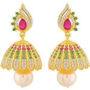 0705d09ad Voylla Swarnam Earrings in Jhumka Pattern Cubic Zirconia Brass Jhumki  Earring