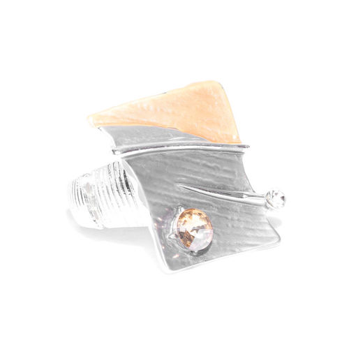 PRITA Grey & Gold-Toned Silver-Plated Enamelled Elasticated Ring