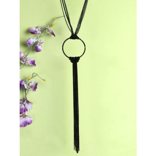 PRITA Black Silver-Plated Tasselled Necklace