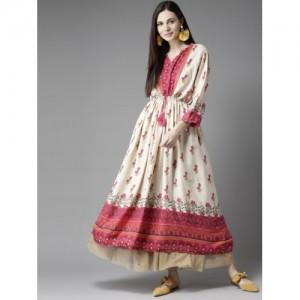 HERE&NOW Pink & Cream-Coloured Printed Anarkali Kurta