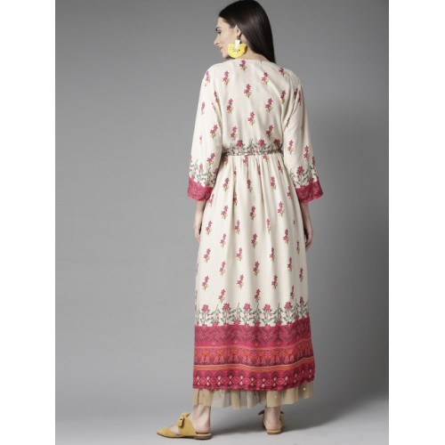HERE&NOW Pink & Cream-Coloured Rayon Printed Anarkali Kurta
