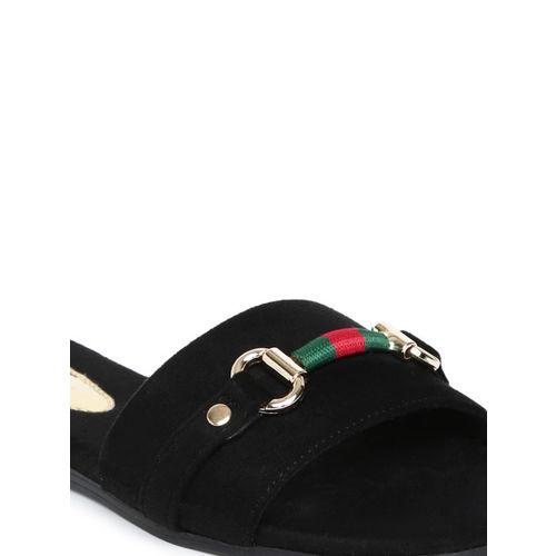 Catwalk Women Black Solid Open Toe Flats