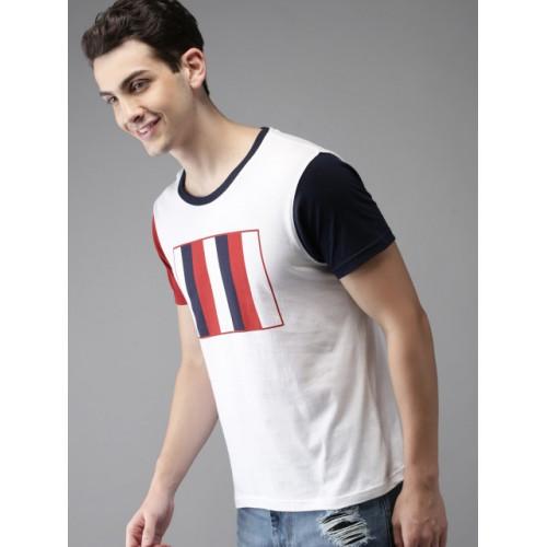HERE&NOW  White Cotton Colourblocked Round Neck T-shirt