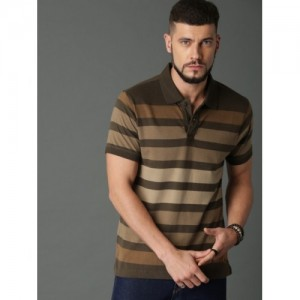 Roadster Brown & Olive Green Striped Polo T-shirt