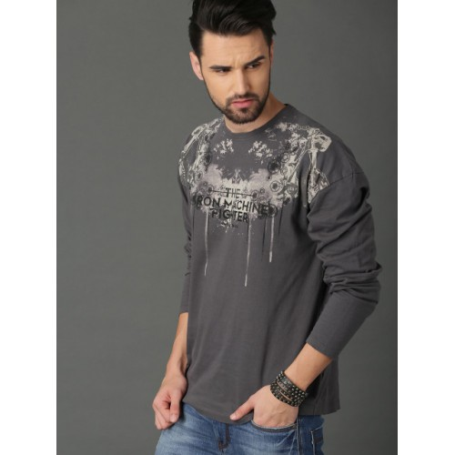 Roadster Grey Cotton Printed Round Neck T-shirt