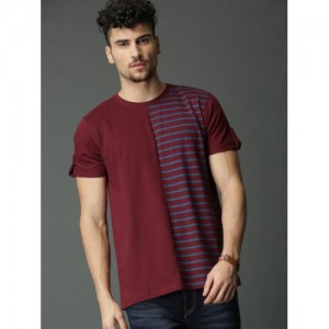 Roadster Maroon & Blue Striped Round Neck T-shirt