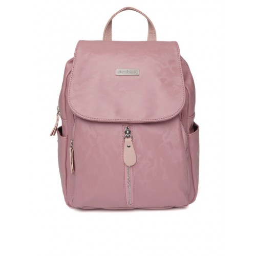 DressBerry Women Pink Camouflage Textured Backpack