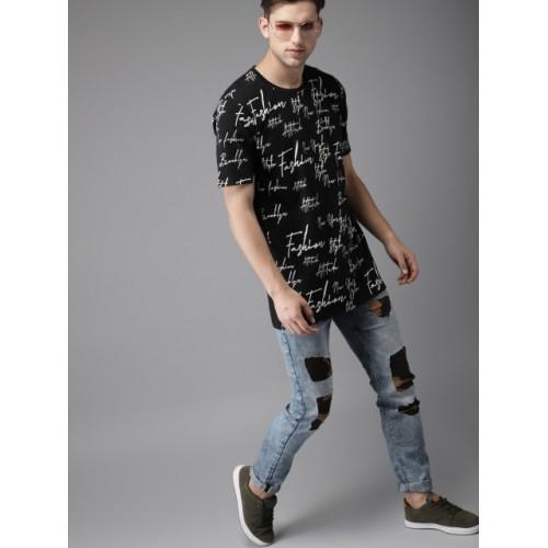 Moda Rapido Black Cotton Slim Fit Printed Longline T-shirt
