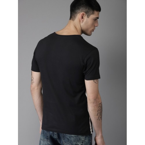Moda Rapido Men Black Printed T-shirt