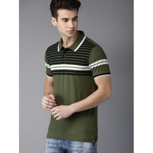 Moda Rapido Olive Green Cotton Striped Polo T-shirt
