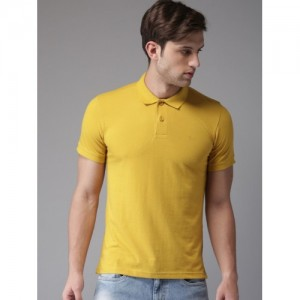 Flying Machine Yellow Cotton Solid Polo Collar T-shirt