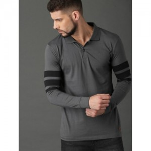 Roadster Charcoal Grey Cotton Solid Polo T-shirt