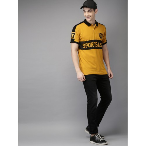 HERE&NOW Mustard Yellow & Black Printed Polo T-shirt