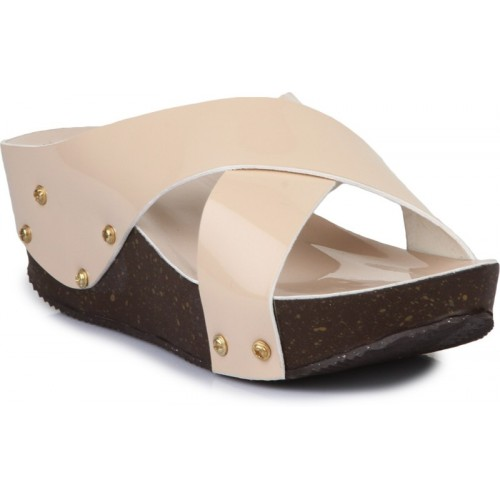Fashtyle Beige Synthetic Slip-On Party Wear Chappals