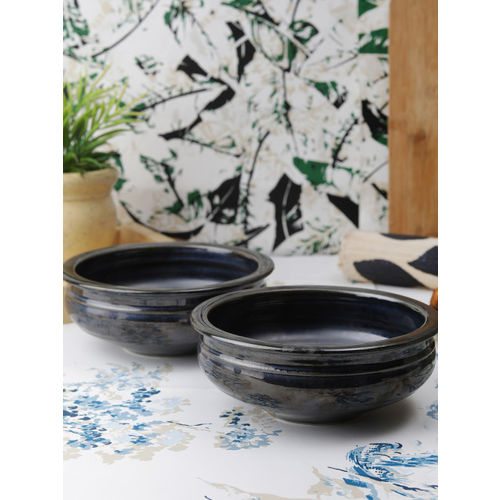 VarEesha Black Set of 2 Printed Ceramic Bowls Set