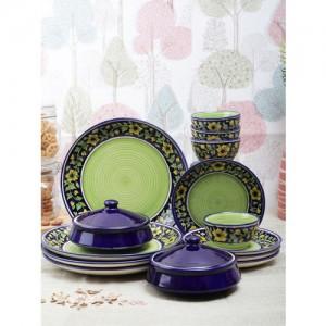 VarEesha Green & Blue 16-Pieces Printed Ceramic Dinner Set