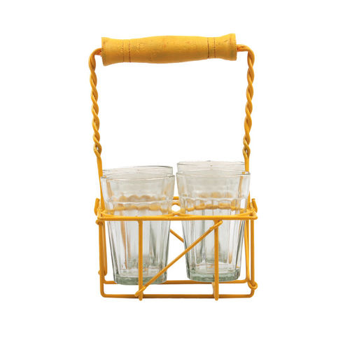 VarEesha Set of 4 Solid Glasses with Yellow Holder