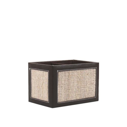 VarEesha Brown Beige Jute and Wood Cutlery Holder with Partition