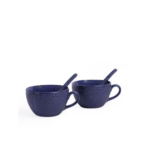 VarEesha Navy Blue Printed Ceramic Set