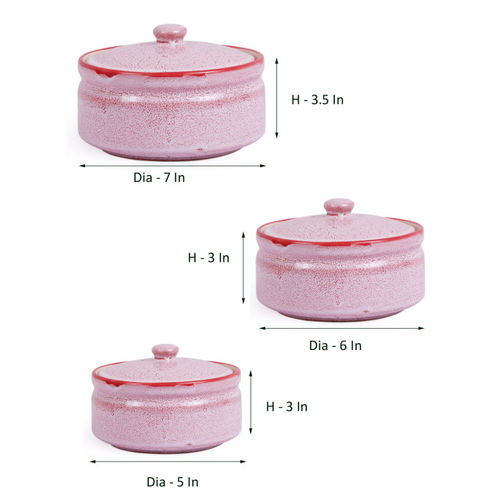 VarEesha Pink Set of 3 Solid Ceramic Serving Bowls Set with Lids