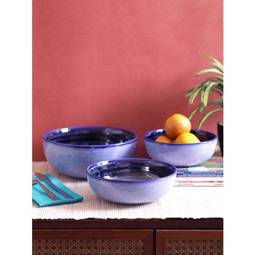 VarEesha Blue Set of 3 Solid Ceramic Serving Bowl Set