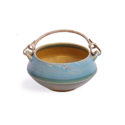 VarEesha Blue Solid Ceramic Bowl with Cane Handle