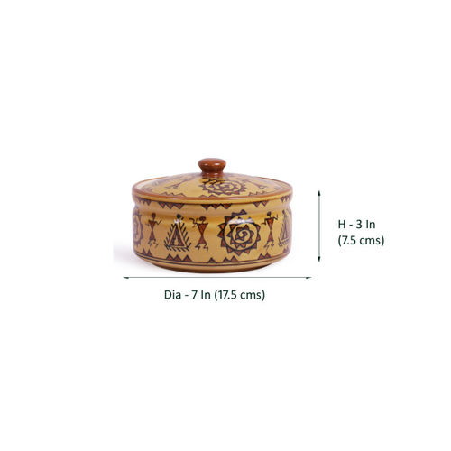 VarEesha Camel Brown Printed Ceramic Set