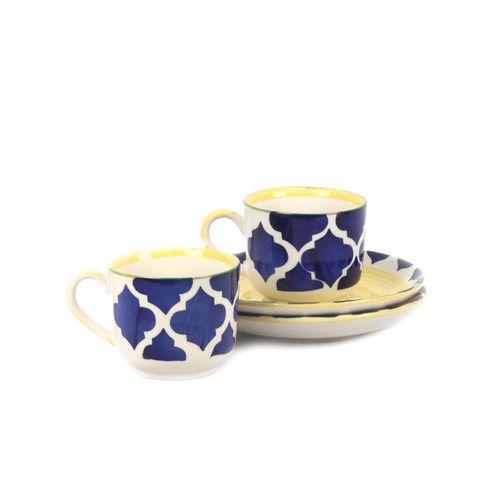 VarEesha Blue 6-Pieces Textured Ceramic Cups and Saucers Set