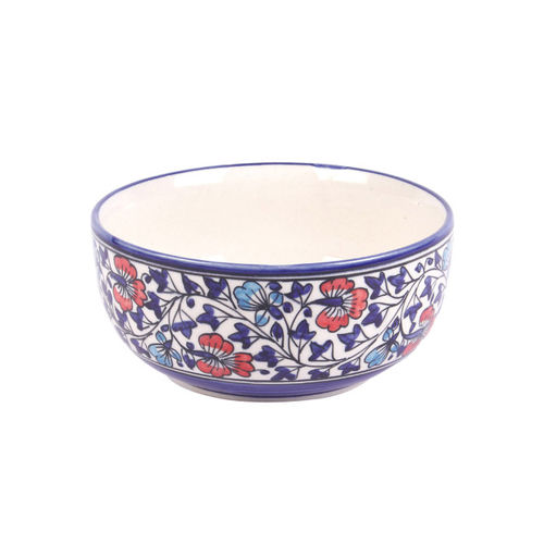 VarEesha Set Of 3 Blue & White Round Hand-Painted Ceramic Serving Bowls
