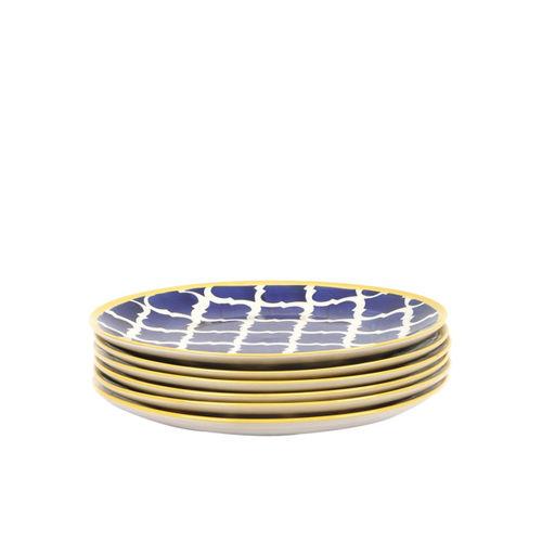 VarEesha Blue & White Set Of 6 Stoneware Printed Small Plates
