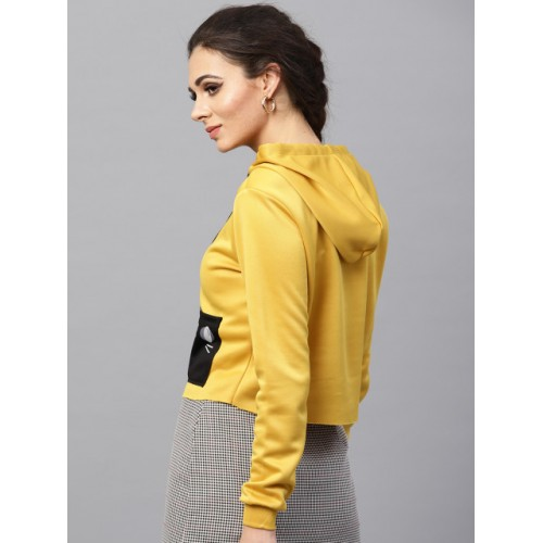 SASSAFRAS Mustard Yellow Polyester Solid Hooded Cropped Sweatshirt