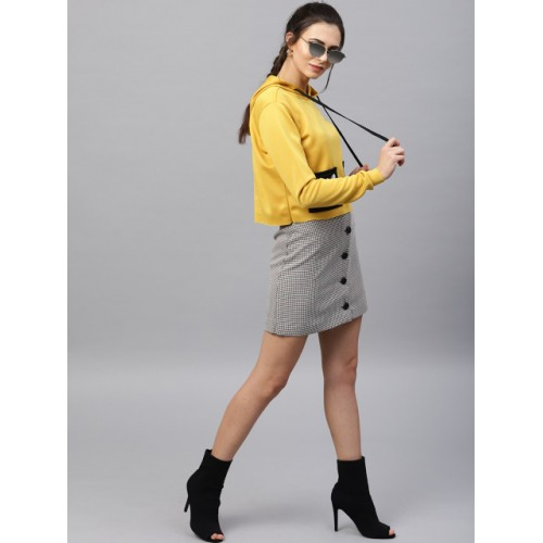 SASSAFRAS Mustard Yellow Polyester Solid Hooded Cropped Sweatshirt