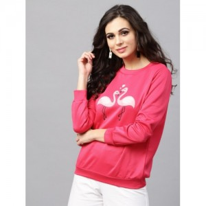 SASSAFRAS Pink Polyester Casual Sweatshirt