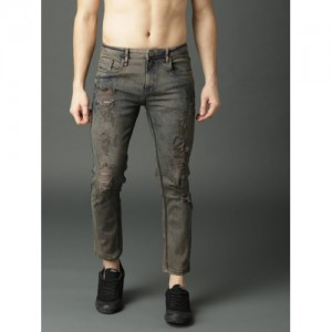 Roadster Men Olive Green Skinny Fit Mid-Rise Mildly Distressed Stretchable Jeans